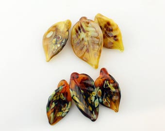 Reserved, Lampwork Glass Leaves Glass Leaf, Fall Colors Brown, Gold, Topaz SRA