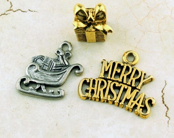 Christmas Charms (3) Merry Christmas, Sleigh, Gift, Present, Gold, Pewter Charms, Jewelry Findings