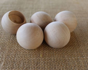 One and a Half Inch Wooden Ball Dowel Cap with 1 inch Hole or 7/8 inch Hole Set of 5