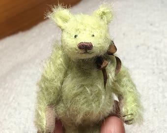 Miniature Hand Sewn 2-3/4in. MINT GREEN Scruffy Mohair Teddy Bear