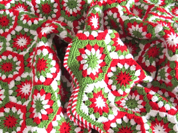 Made to order. Handmade Crochet Christmas blanket, afghan, throw granny squares 51 by 42.5 inch