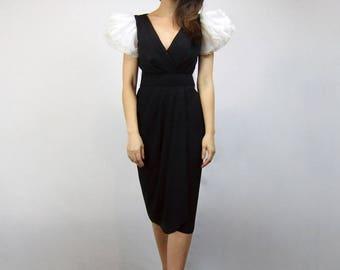 1980s Cocktail Dress Black White Puff Sleeve Dress 80s Bombshell Wiggle Dress - Small to Medium S M