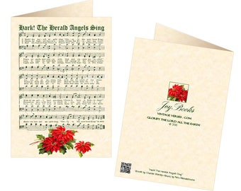 HARK The HERALD ANGELS Sing - Vintage Christmas Carol 5x7 Greeting Card Blank Inside Vintage Verses Christmas Card Parchment Poinsettia Sale