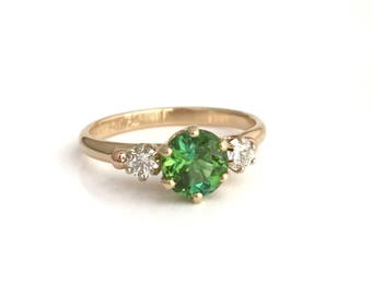 Emerald Pool, Maine Tourmaline and Diamonds in 14k Yellow Gold, Handmade in Maine