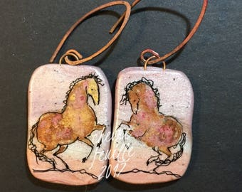 Horse Jewelry: The Pinky Bay Horses. Earrings. Original Ink Drawing on Polymer Clay. Copper Pink Gold Black  4339