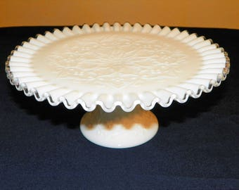 "Fenton Spanish Lace Silver Crest Pedestal Cake Plate, 10 3/4"" Wide, Perfect Cake Plate, Tortes, Cupcakes, Chocolate Strawberries"