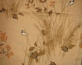 Queen  Flat  bed sheet  Birds in the Marsh vintage  linens