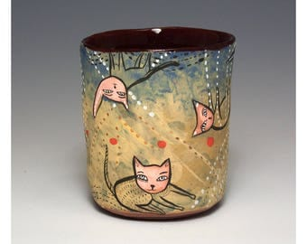 Kittens  Yunomi - Ceramic Cup by Jenny Mendes