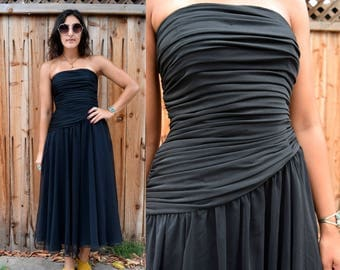 Vintage 80s Black Strapless PARTY DRESS XS S