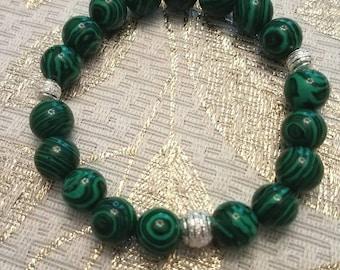 Green Malachite Beaded Bracelet