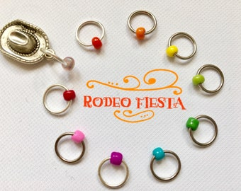 Knitting stitch markers/knitting/O-rings, snag free - RODEO FIESTA