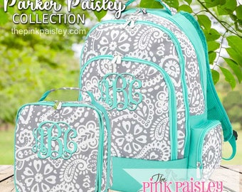 Monogrammed Backpack and Lunch Box | Personalized Backpack | Girls School BookBag | Back To School | Parker Paisley Pattern