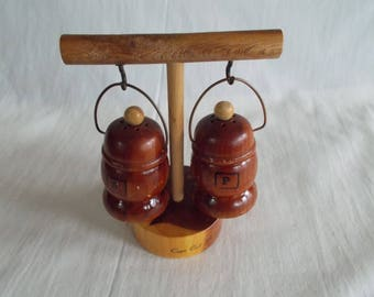 Vintage Wood  Cape Cod Massachusetts Salt And Pepper Shakers