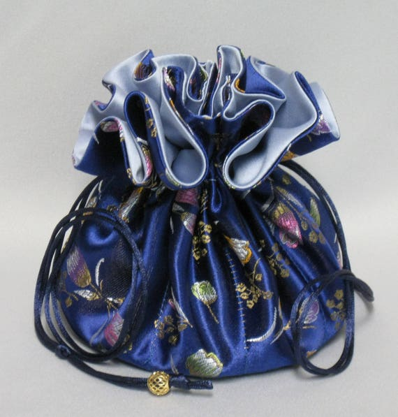 Jewelry Drawstring Travel Tote---8 Pocket Organizer Pouch---Blue Floral Satin Brocade---Large Size