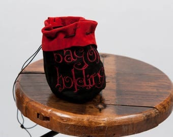 Large leather dice bag rpg gamer bag of holding embroidery larp pouch tabletop dungeons dragons geek nerd gift phone accessory black red sca