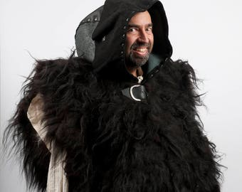 Large black leather hood larp armor warcraft costume cosplay undead necromancer chaos warrior barbarian game of thrones night watch real fur