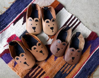 Handmade and hand painted baby bear shoes made from real recycled leather