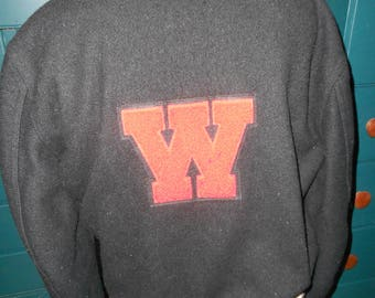 "Vintage Dark Grey Wool 50's Bomber Jacket with Red Letter ""W"" on Back/Bomber Jacket with Knit Collar, Cufs and Waistband - Size Large"