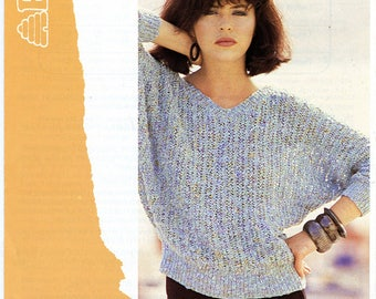 Vintage Patons 7568 Knitting Pattern Women's V Neck Dolman Sweater Bust 32 34 36 38 Small Medium