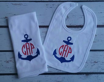 Personalized Monogrammed Nautical Baby Boy Bib Burp Cloth Blanket with Anchor