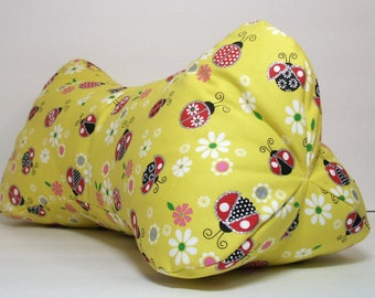 Glitter Lady Bugs / Dog Bone Shaped Contoured Fabric Neck Pillow / FULLY LINED / Relieves Pressure Points / Great for Tv & Travel