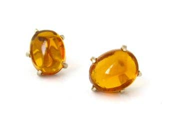 Vintage ERNEST STEINER Molded Glass Earrings, Signed Amber Colored Clip On, 1940s Costume Jewelry