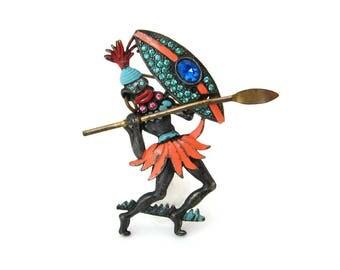 1930s Tribal Warrior Enamel Rhinestone Brooch • Blackamoor Figural Pin • Vintage 30s Jewelry