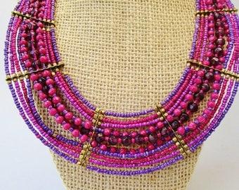 "Vintage Glass Brass Purple Fuchsia Raspberry Gold 10 Strands Egyptian Cleopatra Collar Choker Necklace 22 1/2"" x 1 1/2"" Wide STatement"