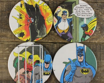 Batman and Robin DC Comics Kid's Book Coaster Set of Four Coasters Vintage Recycled