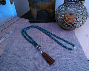 Teal and brown tassel necklace