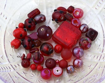 Red Bead Soup, 40g Mixed Lot of Loose Beads, Red Bead Destash, Red Glass Beads, Destash Beads, Red Bead Mix #35