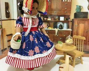 "Patriotic ""Pinwheels and Stripes"" dress, shoes, petticoat, and straw bonnet fits American Girl 18 inch dolls"