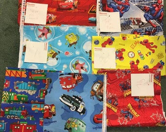 lot of kids fabrics Cars, sponge Bob, elmo, spider man great for quilts or other craft items