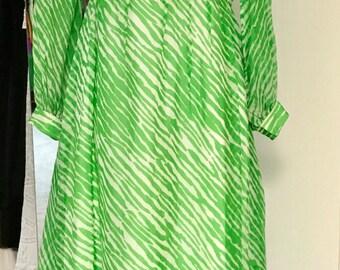 Vintage 1970s Green And White Silk Chiffon Abstract Animal Print Maxi