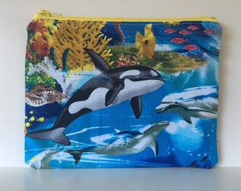 Reusable Sandwich Bag,  Zipper Bag,  Essential Oil Bag, Boy Snack Bag, Girl Snack Bag Orca Whale
