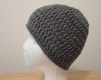 Crochet Hat - Crochet Cap in Gray Acrylic Yarn