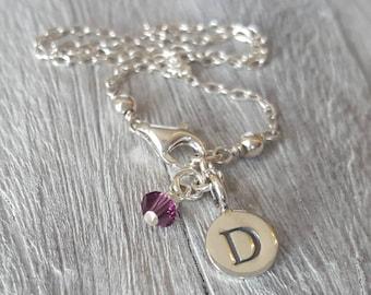 Sterling Silver initial birthstone  anklet , sterling silver personalised anklet, silver monogram ankle bracelet , silver letter anklet
