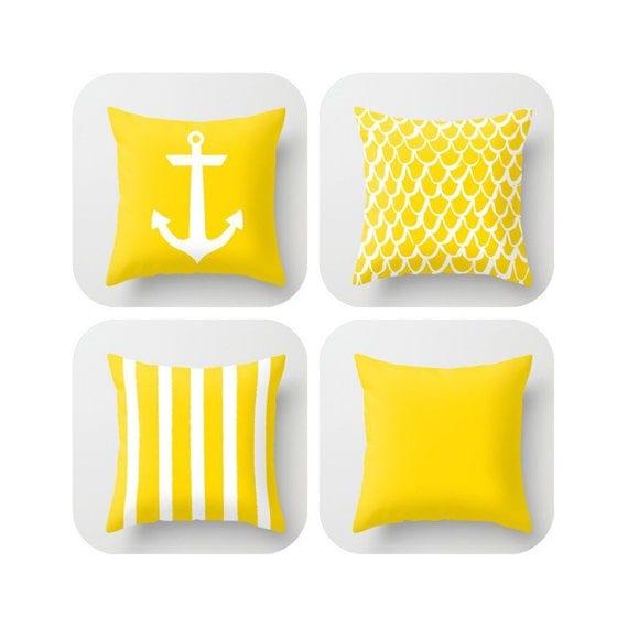 OUTDOOR Throw Pillow . Yellow Mermaid Pillow . Coastal Patio Cushion . Anchor Pillow . Stripe Pillow . 16 18 20 inch . Yellow Lumbar Pillow