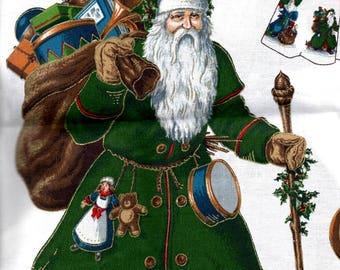 """Olde Father Christmas Appliques 4 Old Fashioned Santa Clauses Green White Red Blue Suits Trees Presents 11"""" x 9"""" Craft Pattern Fabric"""