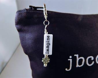 Purse Zipper Charm Key Fob Beaded 180 white letters flowers Charm work Lanyard Handbag Identification tag key ring