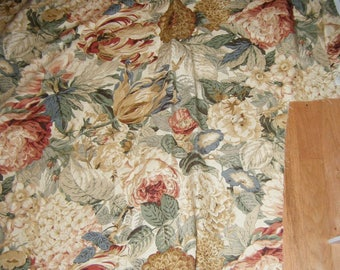 Flowers Floral Fabric French Country sewing supply Price for 2 yard piece 52 inches wide SCT Cream Tan Beige Muted Blue Rose Upholstry Pillo