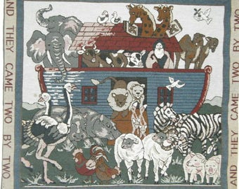 Vintage Noah's Ark Tapestry And They Came Two By Two Wild Animals Nursery Decor Church Decor Sunday School Art Ready to Hang Playroom