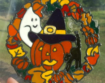 Fall Leaves Reef with black cat and ghost stained glass window CLING