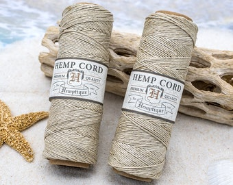 Natural Hemp Cord  .5mm,   Natural Hemp Twine,  Hemp Thread, Hemptique Cord,  Tan Cord -TW15