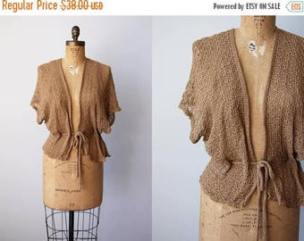 ON SALE 1970s Sweater - Vintage 70s Deadstock Neutral Camel Knit Crochet Fishnet Batwing Ballet Shawl - Chance at Love Shrug
