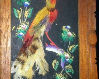 2 Vintage Framed Mexican Feather Art Bird Pictures