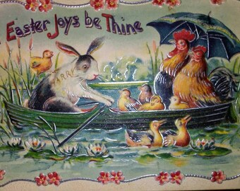 1911 German Easter Postcard- Rabbits, Chickens, Ducks in Boat