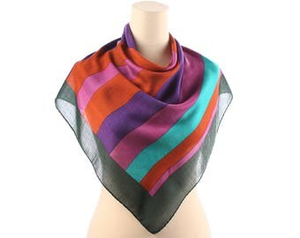 CASHMERE SILK Blend Scarf 70 Vintage Colored Shawl Men Women Color Block Striped Vintage Green Purple Extra Soft Muffler Neckscarf Gift Idea
