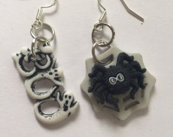 Earrings Mix and Match Collection Boo Ghosts and Black Spider on a Web Dangles