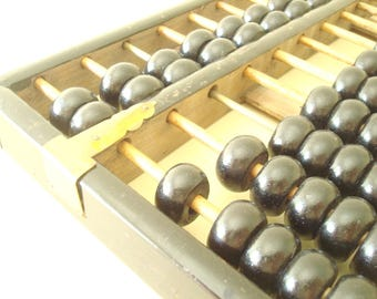 Vintage Chinese abacus, 1960s Lotus Flower black abacus, big 14-in. rosewood, brass corners, People Republic of China, office or study decor